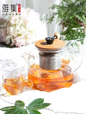 雅集 玻璃泡茶壶拉杆煮茶器 黑茶普洱简易茶具 耐热茶水分离壶蒸茶器