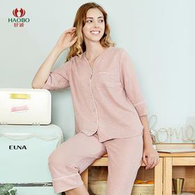 好波20新品家居服女士夏季七分袖六分裤色纱针织家居服套装HJZ2032
