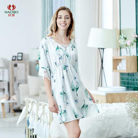 好波20春夏女士七分袖仿丝蕾丝睡裙HJF2060