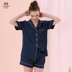 好波20新品女士夏季短袖短裤纯色翻领仿丝家居服套装HJF2063