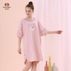 好波新品睡裙少女卡通短袖莱卡棉宽松睡裙HJZ2037