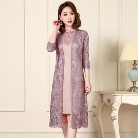 JS-QL8276中国风真丝香云缎背心裙+网纱刺绣外衫TZF