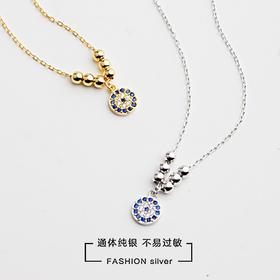 S925纯银欧美个性恶魔之眼镶满钻几何圆形金光珠气质锁骨项链