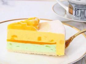 芒果抹茶双拼慕斯切件(动物奶油)
