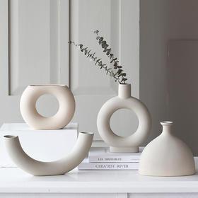 北欧白色ins素色陶瓷花瓶摆件客厅餐桌干花插花器现代简约装饰品