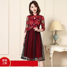JS-CL8198新款修身婚宴礼服网纱刺绣改良旗袍连衣裙TZF