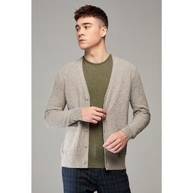 墨麦客男装2020春季新款男士V领直筒开衫毛衣长袖提花针织衫2121