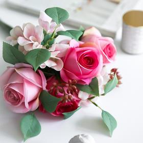 小清新绢花假花仿真花客厅花瓶装饰品插花粉玫瑰插花餐桌花艺摆设