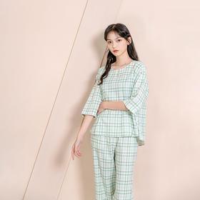 双层纱格子家居服套装 舒适透气,轻薄暖和不挑身材