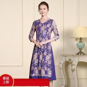 TZF-J-CL8371新款网纱刺绣修身中长款连衣裙TZF