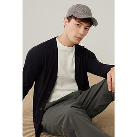 墨麦客男装2020春夏季新款绵羊毛合体薄款纯色长袖v领针织衫2256