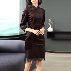 AHM-as6677新款气质显瘦刺绣丝绒旗袍裙TZF