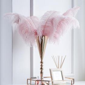 客厅餐桌摄影梦幻鸵鸟羽毛烛台少女感浪漫创意装饰品摆件家居美图