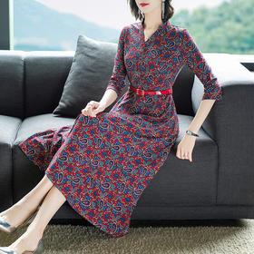AHM-tywf6662新款气质显瘦V领复古印花针织连衣裙TZF
