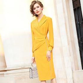 FMY-FX9DL27285时尚修身洋气西装领褶皱中长裙TZF