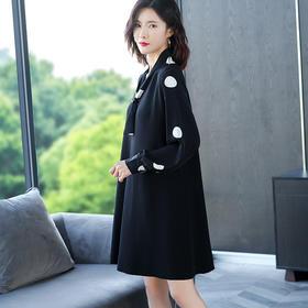 FCY-MG2117雪纺波点衬衣袖拼接针织连衣裙TZF