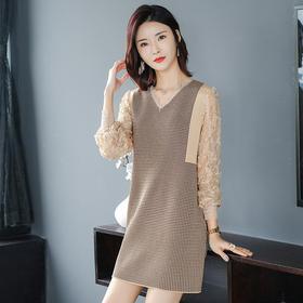 FCY-ZX2055新款蕾丝长袖拼接针织衫毛衣裙TZF