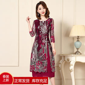 TZF-J-XL8029新款气质修身复古圆领网纱刺绣中长款连衣裙TZF