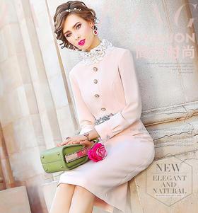 FMY-FX9QL25708新款复古修身高领法式中长包臀裙TZF