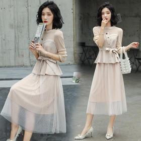 【寒冰紫雨】2020春季休闲长袖套装2件套裙  潮流半身裙子 舒适百褶裙  AAA7847