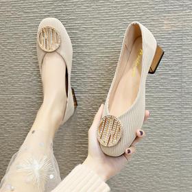 LN-285新款韩版水钻绒面圆扣单鞋TZF