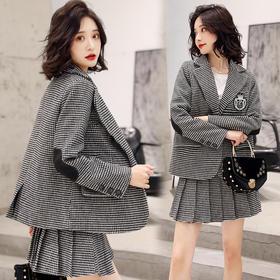 【寒冰紫雨】2020春装千格鸟立体口袋短外套女士西装领上衣   超短百褶半身裙子 两件套裙装  AAA7850