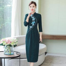 AHM-as8227新款气质复古刺绣中国风改良旗袍裙TZF