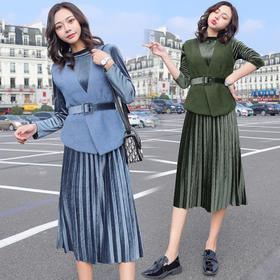 【寒冰紫雨】  女款2件套装女春装长袖上衣服+半裙子女      女士2件套装女   AAA7843