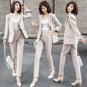 【寒冰紫雨】2020春秋季小西装宽松短款外套 +高腰休闲长裤2件套  AAA7859