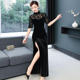GN-HA9086新款经典丝绒改良旗袍长款连衣裙TZF