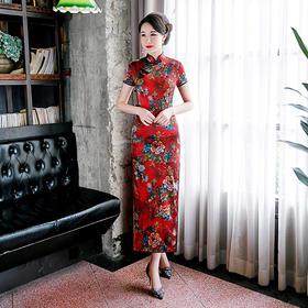 WXG-新款修身长款短袖真丝复古旗袍裙TZF