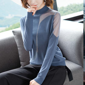 SHJS101-93323新款半高领网纱透视针织羊毛衫TZF