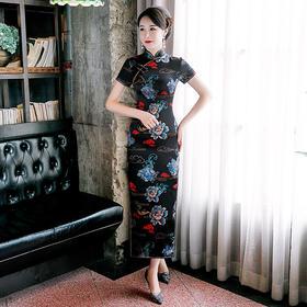 WXG-新款修身长款短袖真丝复古唐装旗袍裙TZF