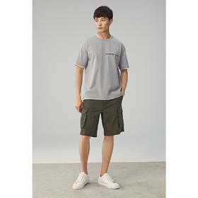 墨麦客男装2020春夏季新款圆领刺绣短袖t恤男士假两件体恤衫7338