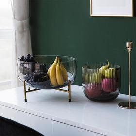轻奢美式水果盘家用个性创意客厅茶几玻璃水果盘家居装饰摆件