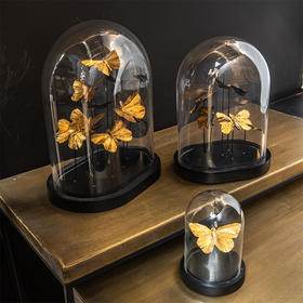 欧洲进口J-LINE轻奢金色蝴蝶玻璃罩客厅电视柜摆件家居软装饰品