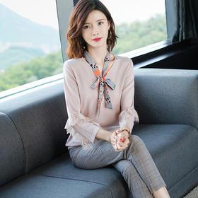 SHJS-101-2076新品气质纯色V领蕾丝拼接袖针织衫TZF