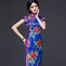 FD-QC169772新款复古改良时尚修身真丝旗袍裙TZF
