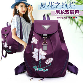 XH-1622新款时尚韩版印花尼龙帆布学院风背包TZF