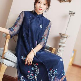 OG-99403新品复古中国风重工刺绣宽松中长款禅服连衣裙TZF