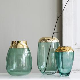 北欧轻奢玻璃花瓶摆件客厅插花 手工玻璃透明花瓶 鲜花瓶插花瓶