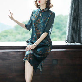 AHM-as8138新款中国风复古盘扣优雅连衣裙TZF