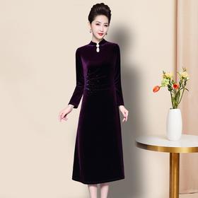 TZF-J-DL83252019新款高贵气质修身韩国绒烫钻连衣裙TZF