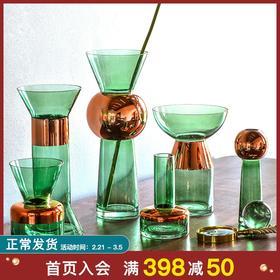 BX创意玻璃花瓶透明家居客厅水培插花瓶摆件北欧餐桌装饰品摆设