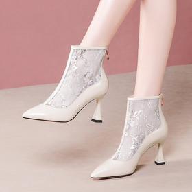 OLD-Y6178新款真皮低跟尖头网纱皮短靴TZF