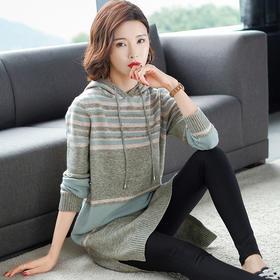 SHJS-101-93355新品韩版时尚宽松连帽条纹中长款针织衫毛衣TZF