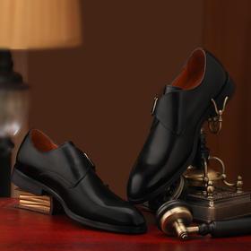 男士新款孟克皮鞋黑色\棕色中圆头单扣\方头双扣内缝工艺正装皮鞋