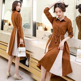 【寒冰紫雨】2020春款连衣裙小香风个性减龄舒适长袖拼色优雅显瘦