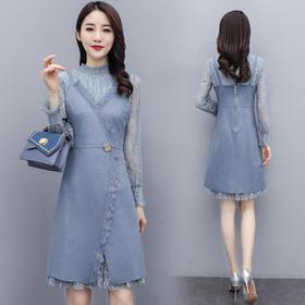 【寒冰紫雨】潮流舒适2020春新款   2件套裙子春装长袖蕾丝衫吊带连衣裙  AAA7882