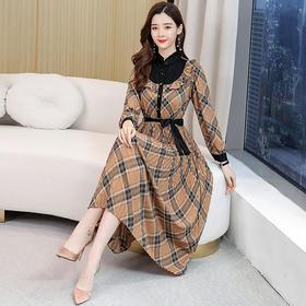 【寒冰紫雨】时尚潮流舒适连衣裙  中长早春新款休闲长袖气质裙子  AAA959